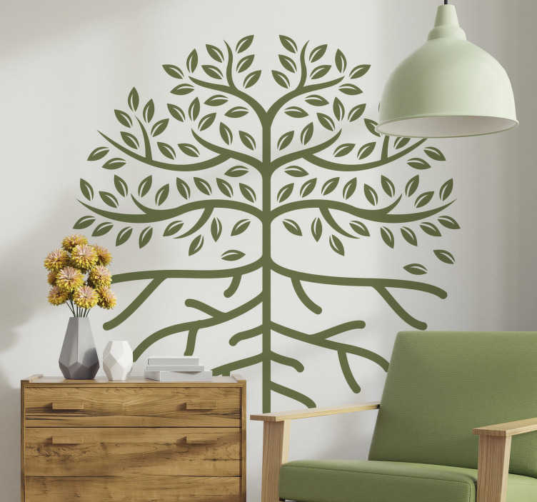 TenStickers. Tree life with roots tree wall decal. Easy to apply  adhesive decorative wall art decal of a tree with branches available in different colour and size options.