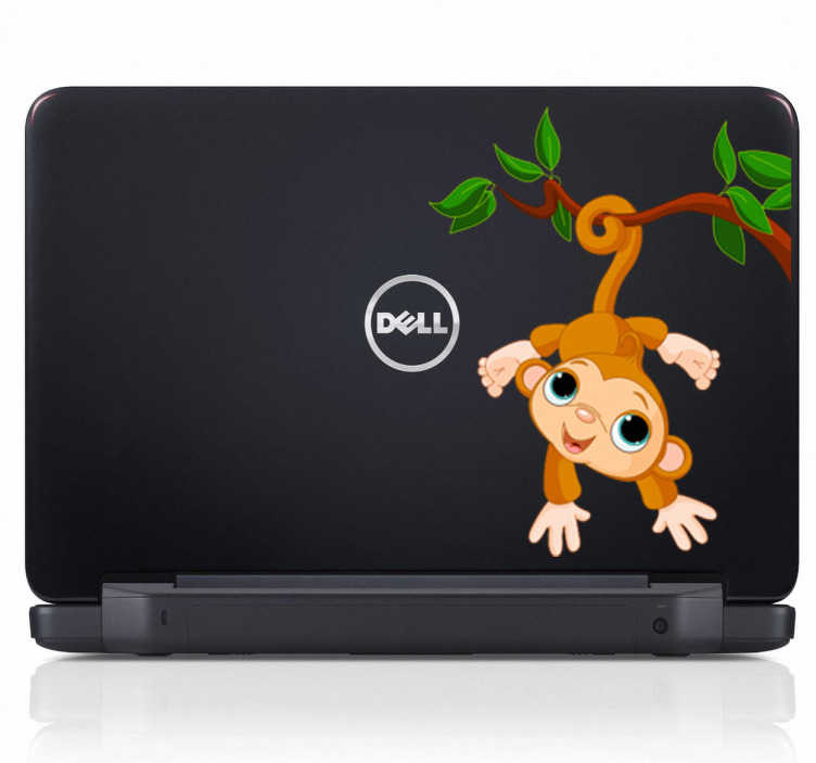 TenStickers. Monkey Hanging on Tree Kids Sticker. Fun monkey decal on a tree for your laptop. This brilliant vinyl from our monkey wall stickers is ideal to decorate your laptop!