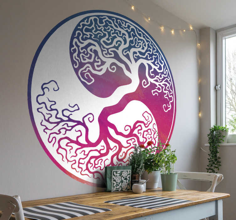 TenStickers. Yin yang tree life  tree wall decal. Decorative wall decal design of a ying yang tree life created in beautiful colorful style on a round surface. It is available in different sizes.