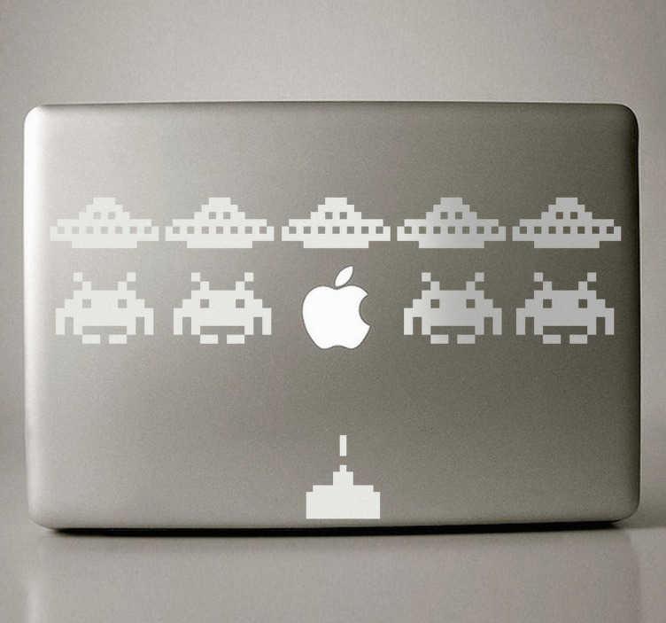 TenStickers. Sticker PC portable martiens. Un sticker original et amusant façon jeu vidéo pour personnaliser votre ordinateur portable ou tout appareil de la marque Apple.