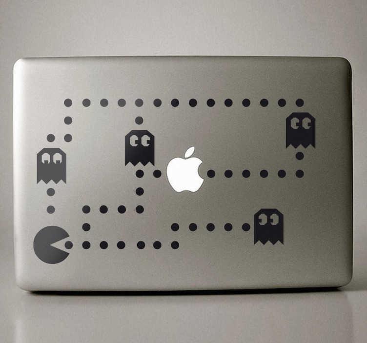 TenVinilo. Vinilo decorativo Pacman para portátil. Adhesivo vistoso para tu ordenador portátil del legendario videojuego Pacman. Un laberinto donde deberás escapar de los temidos fantasmas.*En función del tamaño del dispositivo las proporciones del vinilo pueden variar ligeramente.