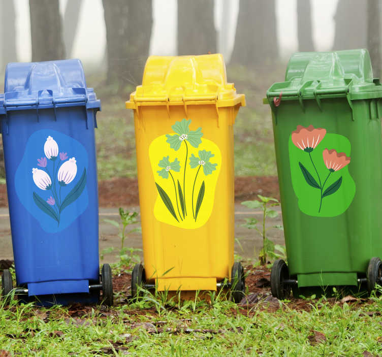 TenStickers. Waste container with flower stikcer. Waste container signage decal with beautiful flower design . Used for waste bins for streets and house locations. Available in nay size.