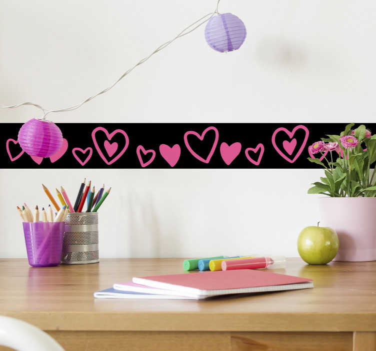 TenStickers. Border of hearts border sticker. Decorative wall boarder sticker filled with hearts shape in colorful style. Buy the design to created a well defined wall surface with amazing touch.