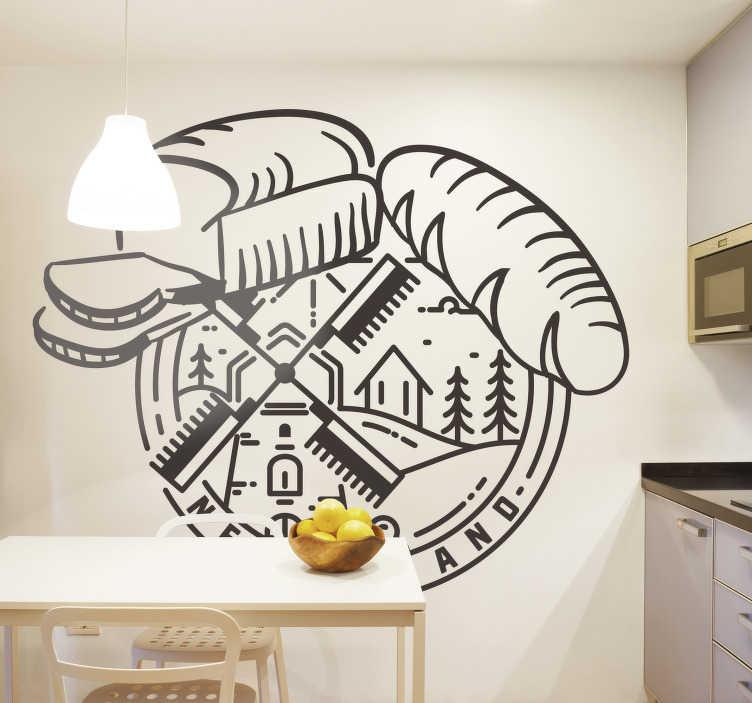 TenStickers. Brot und Mühle Wandtattoo. Ein lebensmittel wandkunst vinyl aufkleber design eines brotes und einer mühle im zeichenstil, um jeder küche einen hauch von transformation zu verleihen.