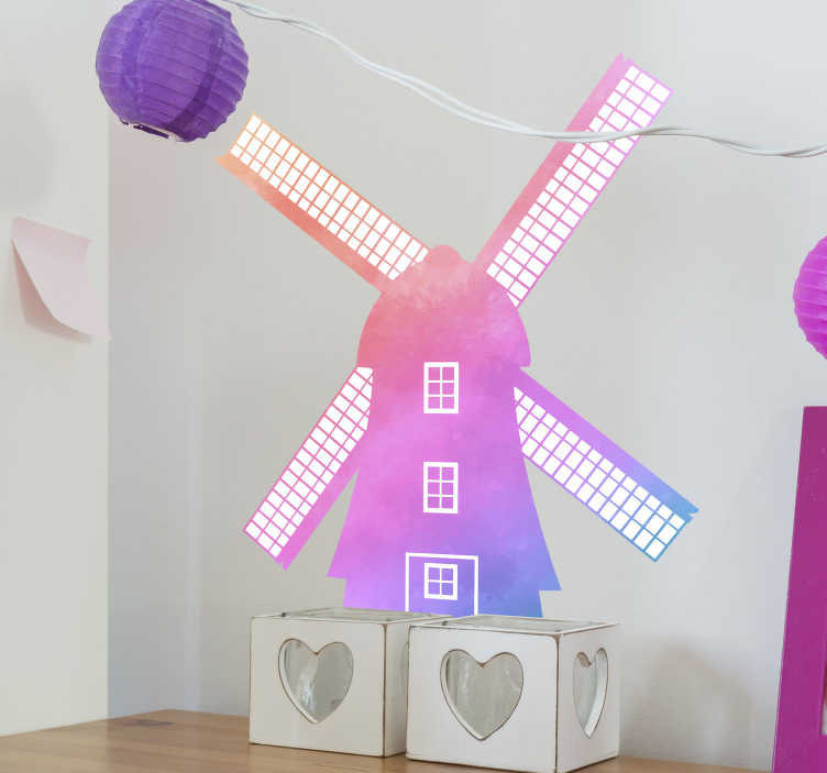 TenStickers. A silhouette of a windmill illustration wall art. An illustration wall decal of a windmill for children . A design created in a multicolored style appealing for kids.  Easy to apply adhesive vinyl.