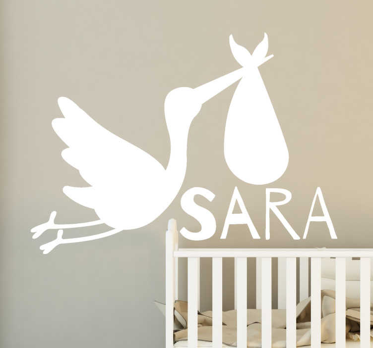 TenStickers. Personalized name with stork bird decal. A decorative wall sticker for children designed with a stork and a name that is personalisable with what you want on it. Easy to apply.