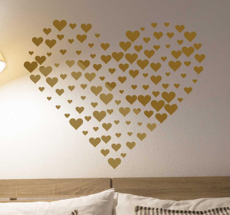 TenStickers. Herz aus Herzen Wandaufkleber. Ein originaler wandaufkleber für zu hause, der mit einem herzen gestaltet wurde und in verschiedenen farben und größen erhältlich ist, um jeden ebenen raum ihrer wahl zu dekorieren.