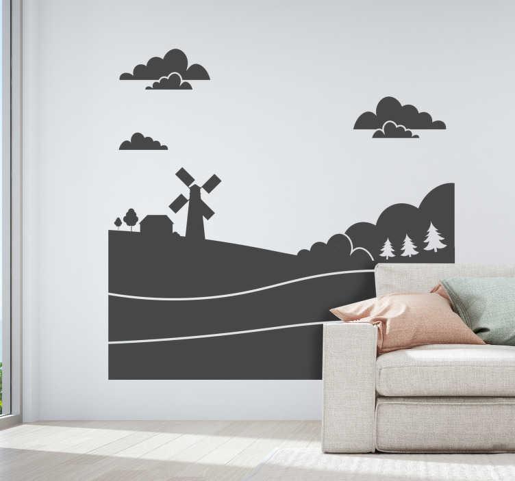 TenStickers. Landschap en molen natuur muursticker. Decoratieve muursticker ontwerp van een vredig natuurlijk thema om elke muurruimte te verfraaien in de kleuroptie van verlangen. Eenvoudig aan te brengen zelfklevend vinyl.