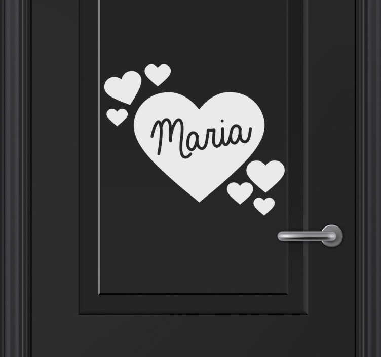 TenStickers. Name in hearts for girls glass door sticker. Personalizable name door decal designed with heart shapes and name on it. It comes in different colour and size options to fit to range of space.