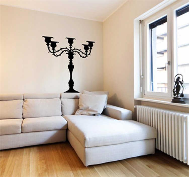 TenStickers. Sticker decorativo candelabro 3. Adesivo murale che raffigura un eccentrico portacandele con i bracci spinati a mo' di rametti di rosa.  Una decorazione ideale per il soggiorno.