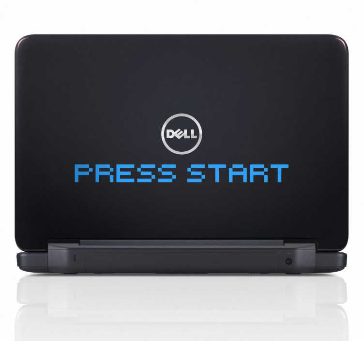 """TenStickers. Sticker PC portable Press start. Allumez votre ordinateur portable avec cet original sticker texte en anglais """"Press Start"""". Pour donner un côté jeu vidéo à votre appareil."""