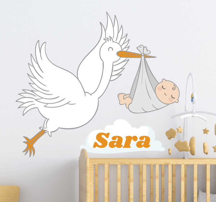 TenStickers. Stork with baby and name baby wall sticker. Personalize a baby name on our decorative wall decal  design of a stork carrying a baby on it beak with the name of the child on it.