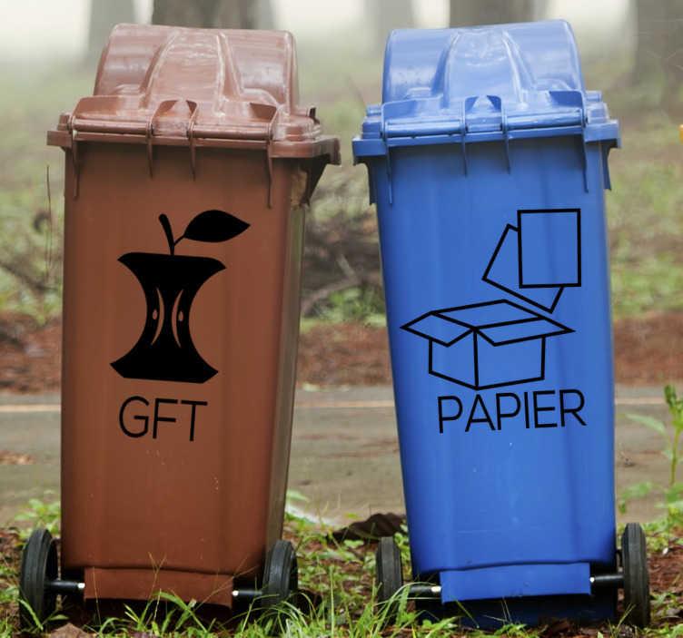 TenStickers. Papier en afval zelfklevende sticker. Bewegwijzering iconische afvalcontainer-sticker om op het oppervlak te plaatsen om goed op te merken waar papier en afval moeten worden gestort.
