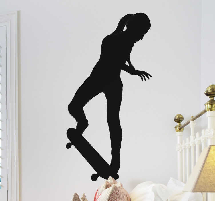 TenStickers. Silhouette girl with trick wall sticker. A silhouettes wall sticker of a skating girl on the skateboard. An ideal design for teens and it is available in different colour and size options.