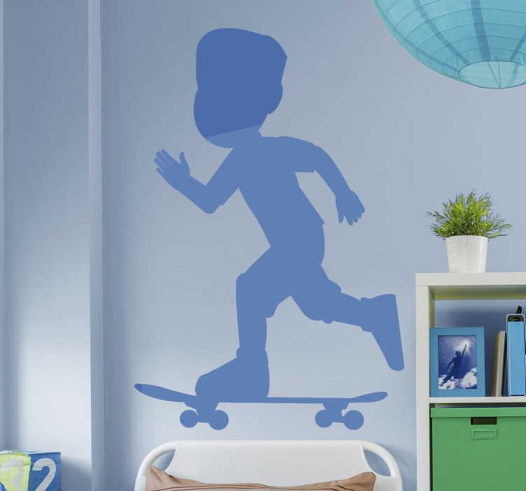 TenStickers. Silhouette Skater Wandtattoo. Ein extremsport-wandtattoo eines kindes, das auf einem skateboard ruiniert. Ein ideales design für die Aufkleberation von teen space und jedem skate center.