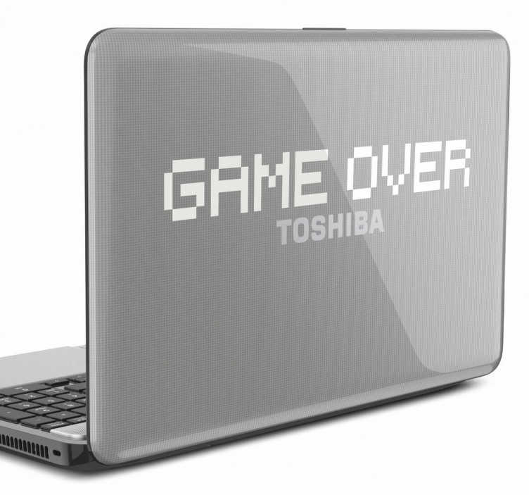 TenStickers. Game Over Laptop Sticker. Game Over laptop sticker for the gamers! A classic gaming sticker to decorate your laptop. Are you looking for a sticker to let everyone know you are a true gamer? Then this retro sticker is perfect for you! Choose the colour that best suits your laptop and give it an original touch.