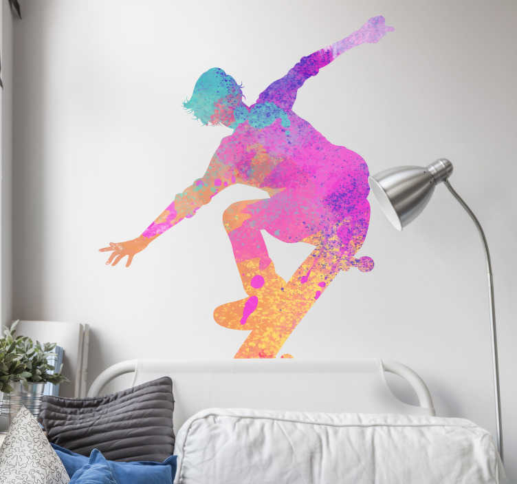 TenStickers. Silhouette skater silhouette wall decal. Decorative skater decal designed in silhouettes in multicolored style and you can chose it in the size that will best fit the space you want.