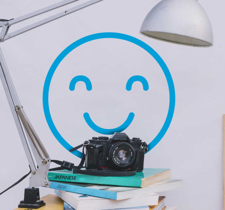 TenStickers. smiley emoji wall decal. Buy our smiley iconic emoji sticker designed in options of different available colours to apply on any flat surface you want to share happy mood.