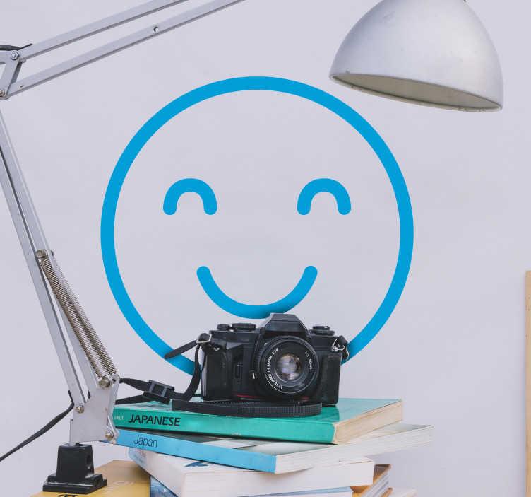 TenStickers. Smiley emoji zelfklevende muursticker. Koop onze smiley iconische emoji-zelfklevende sticker ontworpen in opties van verschillende beschikbare kleuren om toe te passen op elk vlak oppervlak dat je een gelukkig humeur wilt geven.