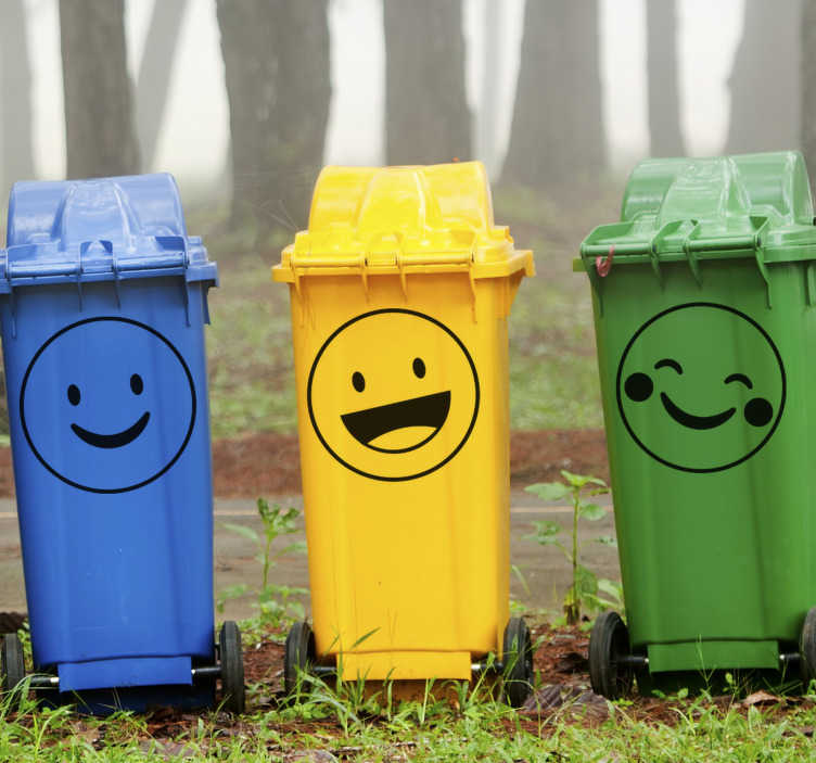 TenStickers. Smiley containers decal. Trash containers stickers with funny emojis to apply on the surface of disposable bins  both at home and on street recycle bin containers.
