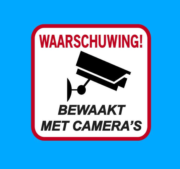 TenStickers. Waarschuwing gecontroleerd met camera's zelfklevende sticker. Waarschuwing bewaakt met camera zelfklevende sticker voor iconische bewegwijzering. Kan thuis en op openbare plaatsen worden toegepast voor controle van veiligheidswaarschuwingen.