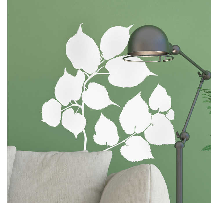 TenStickers. Branches of linden tree plant wall decal. Decorative wall decal of a Linden tree branch that is available in over 40 mono colour options to beautify any space in the home or anywhere.