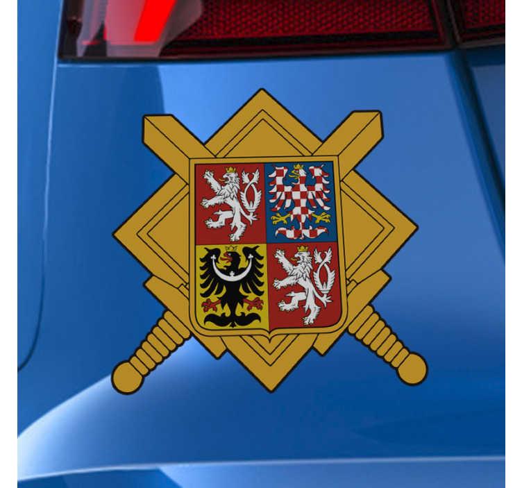 TenStickers. český erb auto nálepka. Design obtisku automobilu v barevném stylu a ideální pro všechna vozidla. Vybrali design v možnostech velikosti, které máme.