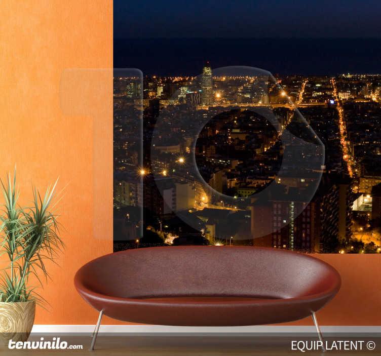 TenStickers. Wandtattoo Barcelona bei Nacht. Wandtattoo Barcelona bei Nacht mit Lichtern für eine romantische Gestaltung der Wohnung.