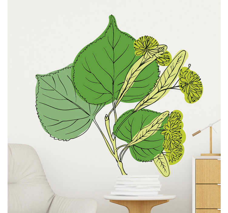 TenStickers. Linden Blossoms plant wall decal. Multicolored design of a blossom Linden plant wall sticker for home decoration For the living room and bedroom space. Ideal for any flat surface.