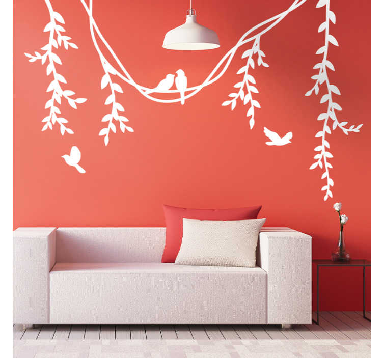 TenStickers. Lindenzweig und Vögel Wandtattoo. Aufkleberativer vinylaufkleber der lindenblume mit vögeln darauf. Das design ist in verschiedenen monofarben erhältlich.