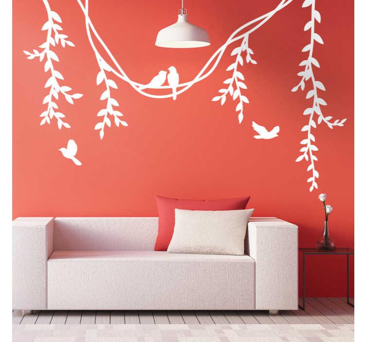 TENSTICKERS. リンデンの枝と鳥の植物の壁の装飾. それに鳥とリンデン花植物の装飾的なホームビニールデカール。デザインはさまざまな単色オプションで利用できます。