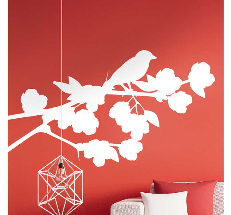 TenStickers. Linden Branches bird sticker. Easy to apply adhesive home vinyl decal created with a Linden flower plant with bird on it. Available in mono colour options.