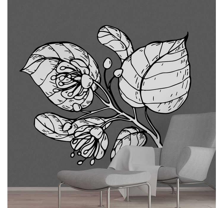 TENSTICKERS. リンデンの描画植物壁デカール. シンプルな色の外観のシナノキの花植物の装飾的な家の壁のステッカー。家のどんな壁面にも理想的なデザイン。