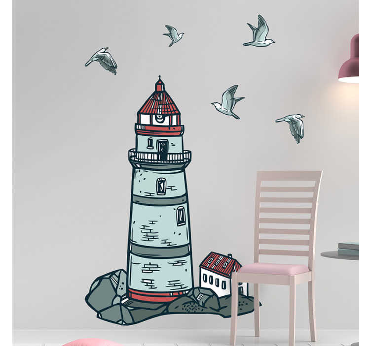 TenStickers. Nautical lighthouse nautical decal. Decorative nautical lighthouse wall decal design to beautify any flat surface of your choice. The design comes in sizes and easy to apply.