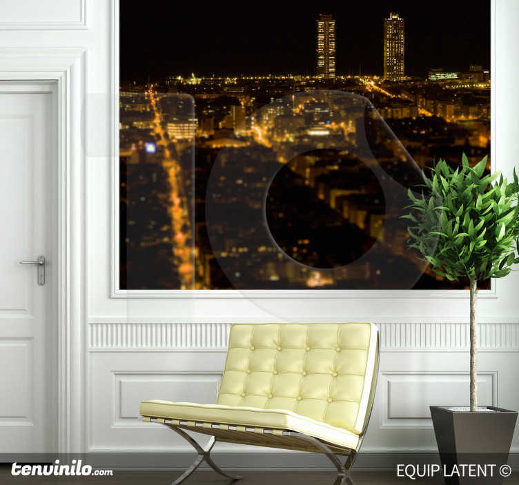 TenStickers. Barcelona Torres Mapfre Wall Sticker. A Barcelona sticker where you have a privileged night view of Barcelona. Have a full view of the city with other wall decal collection.