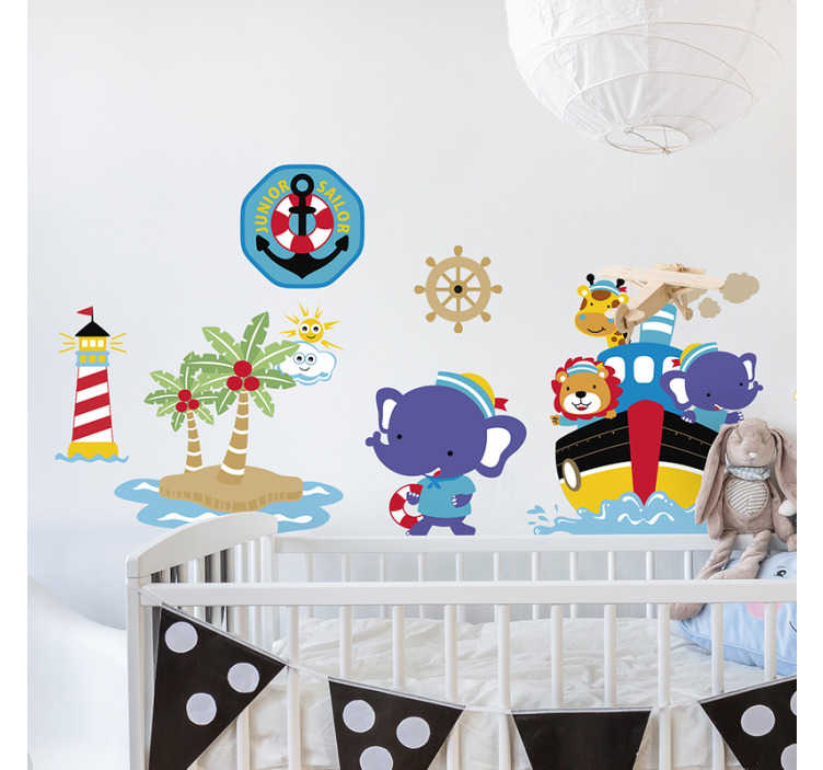 TenStickers. Sailboat, lighthouse and anchor illustration decal. Decorate any kid space with this kids wall decal that features sailboat, lighthouse and anchor in pretty colour that any child would love.
