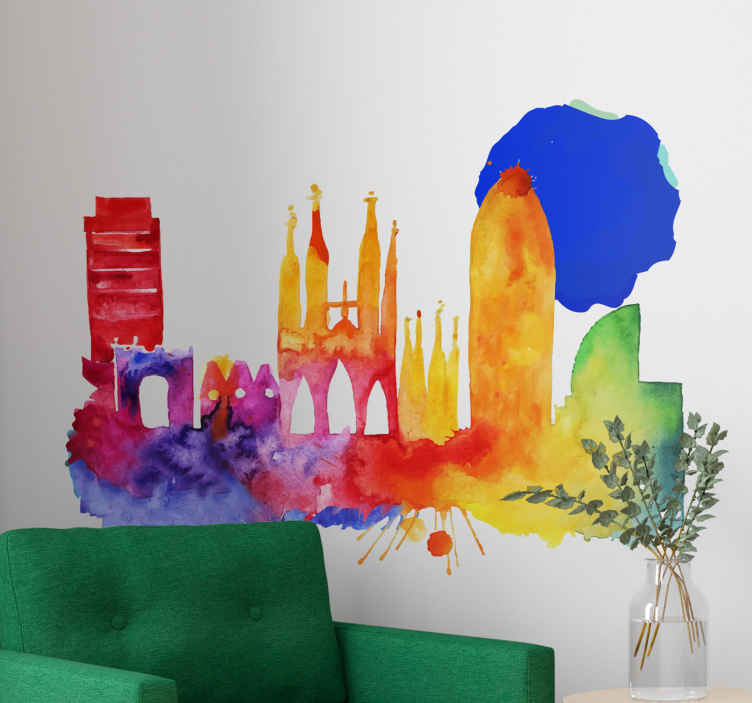 TenStickers. Barcelona at Night Decorative Sticker. This colorful artistic sticker depicts the spectacular Barcelona skyline at night time. The multi-colored sticker adds a unique style to any room.