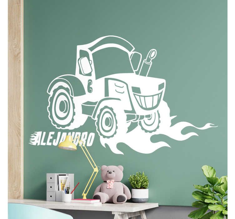 TenStickers. Tractor Zetor Personalizable Childrens Bedroom Wall Sticker. Personalisable name wall decal for kids created with a Zetro tractor and you can have it with the name of your choice. Easy to apply adhesive vinyl.