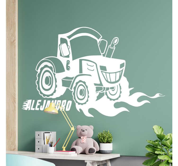 TenStickers. adhesif deco personnalisable pour chambre d'enfant tracteur retro. adhesif nom personnalisable pour enfants créé avec un tracteur zetro et vous pouvez l'avoir avec le nom de votre choix. autocollant adhésif facile à appliquer.