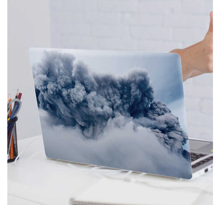 TenStickers. Volcanic smoke laptop skin. Easy to apply decorative vinyl laptop decal to beautify the surface. The design is created with a volcanic smoke and you can buy it in any colour.