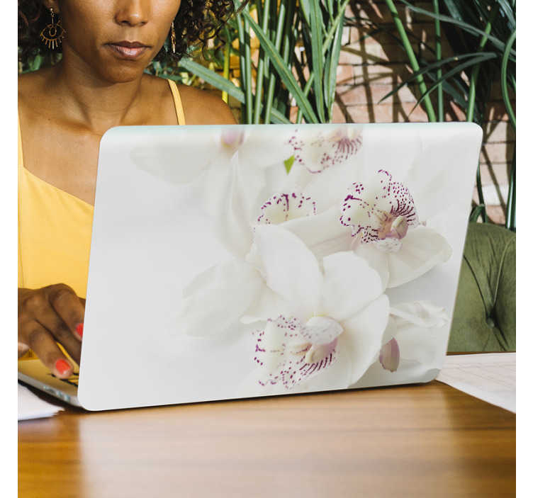 TenStickers. White orchid laptop skin. Buy our beautiful vinyl laptop decal with the design of a white orchid plant which will add a gentle touch of beauty to the surface of any laptop.