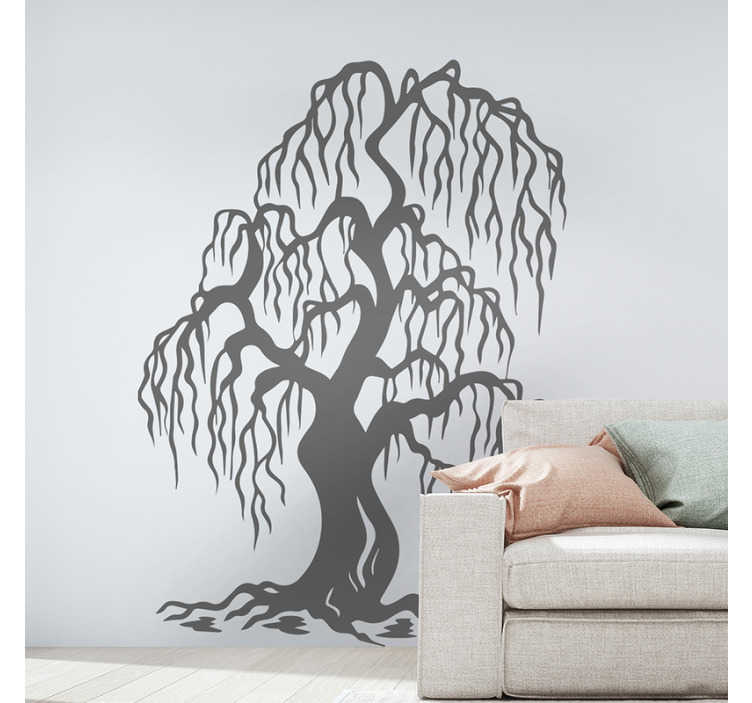 TenStickers. Willow tree wall decal. Decorative wall decal of a tree art to beautify any space in the home. The design is available in various size and colour options.