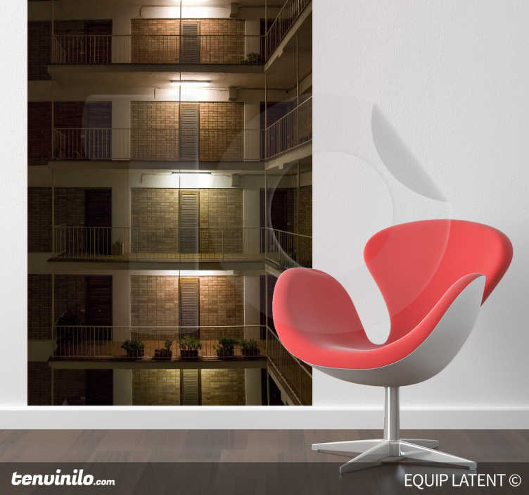 TenStickers. Sticker decorativo foto appartamenti. Fotomurale d'autore che ritrae una serie di appartamenti su diversi piani di un edificio. Una fotgrafia originale di Latent Estudi.