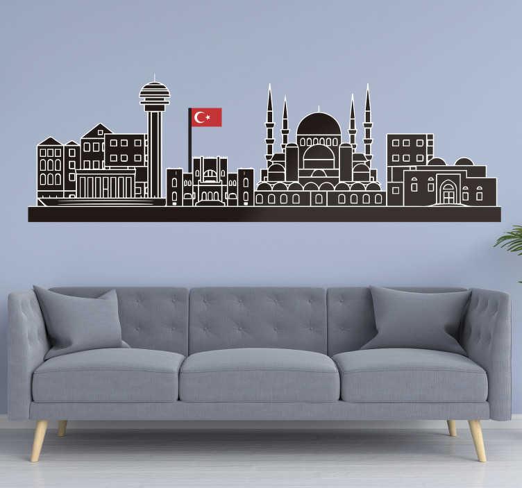 TenStickers. Ankara manzarası ile bayrak manzarası siluet çıkartma. Ev duvar yüzeyini güzelleştirmek için ankara şehir silüetinin dekoratif duvar sticker ve seçtiğiniz herhangi bir alana uygulanabilir.