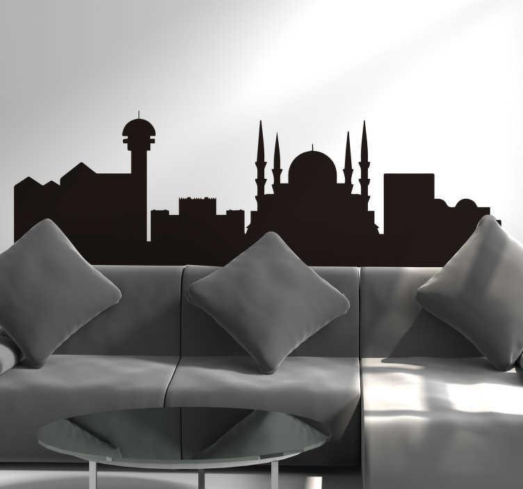 TenStickers. Ankara manzarası şehir manzarası siluet duvar çıkartması. Evdeki herhangi bir duvar alanını, mevcut farklı renk seçeneklerinde ortaya çıkan bu ankara şehir silueti manzarası ile süsleyin.