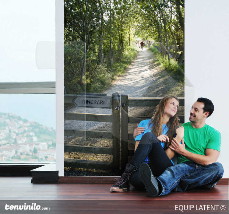 TenStickers. Footpath Wall Sticker. A beautiful wall decal of a footpath in the forest with a natural of view! Brilliant to decorate your living room and obtain a natural look.
