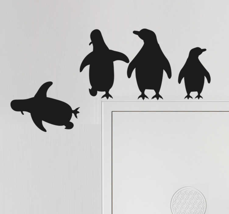 TenStickers. Penguins Jumping glass door decal. A door sticker designed with jumping  penguins to decaote the surface of any door adding a touch of beauty to it.. It is available in different sizes.