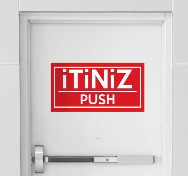 TenStickers. Itme cam kapı sticker. Bir kapı açmak amacıyla tasarlanmış ikonik tabela vinil kapı çıkartması. Güzel bir renk arka plan üzerinde 'itme' metnine sahiptir.
