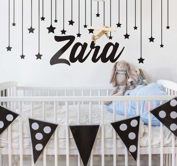 TenStickers. Starry Night with name childrens wall decal. Starry night Wall decal for kids to decorate the space of any child or infant. The design can be personalized with the name of your choice on it.