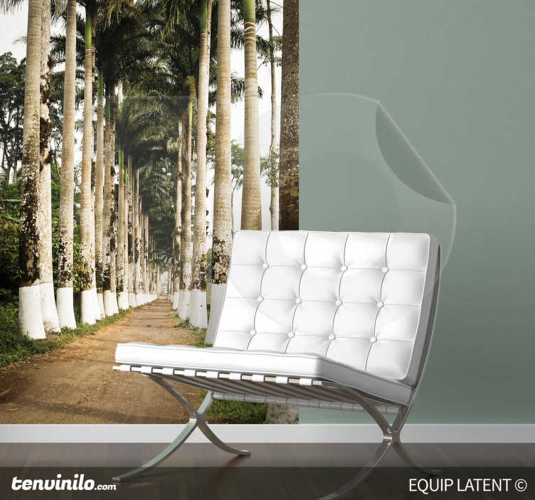 TenStickers. Palm Road Wall Mural. Photo Murals - Latent Estudi Photography. A path through two lines of palm trees. A distinctive feature for decorating your home or business.